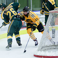 4th year forward Christian Magnus (23) of the Regina Cougars in action during the Men's Hockey Home Game on November 5 at Co-operators arena. Credit: Arthur Ward/Arthur Images