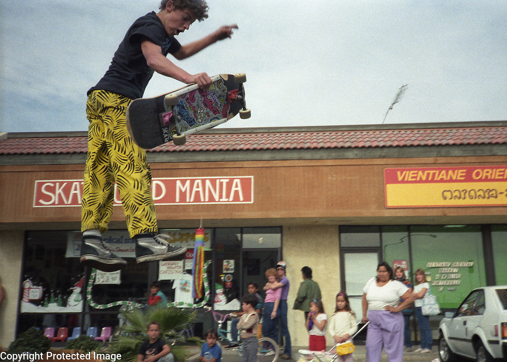Karma Tsocheff skateboards during a demo at Skateboard Mania in the summer of 1986 in Porterville, California.