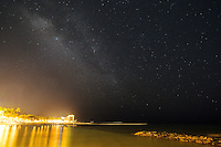 Milky Way Galaxy Over Waikiki Beach, Honolulu, Oahu, Hawaii