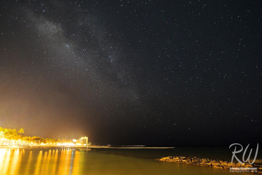 Milky Way Galaxy Over Waikiki Beach, Honolulu, Oahu, Hawaii