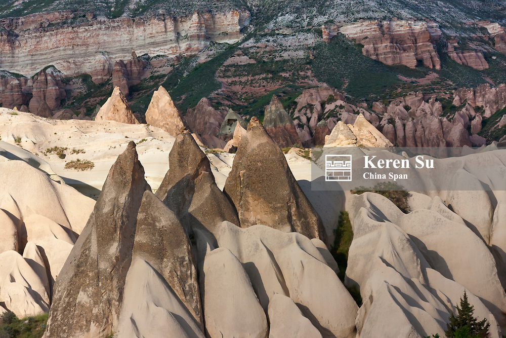 Rock formations in the valley, Goreme National Park, Cappadocia, Turkey