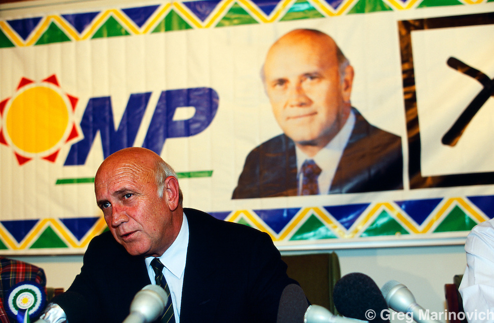 President FW de Klerk at a pre election rally 1994. South Africa