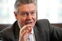 15 APR 2010, BERLIN/GERMANY:<br /> Karel De Gucht, Kommissar fuer Handel, Europaeische Kommission, waehrend einem Interview, Vertertung der Europaeischen Kommission in Berlin<br /> IMAGE: 20100415-01-041