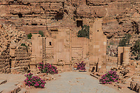 The Hadrien Gate roman avenue in Nabatean Petra Jordan middle east