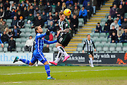 Plymouth Argyle's Gregg Wylde has a early headed chance on goal during the Sky Bet League 2 match between Plymouth Argyle and Notts County at Home Park, Plymouth, England on 27 February 2016. Photo by Graham Hunt.