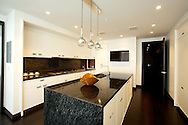 The kitchen of the model apartment at One57 located on West 57th Street in Manhattan.