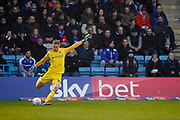 Alex Bass of Portsmouth in action during the EFL Sky Bet League 1 match between Gillingham and Portsmouth at the MEMS Priestfield Stadium, Gillingham, England on 1 January 2020.