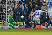 Leeds United goalkeeper Bailey Peacock-Farrell (1) saves from Blackburn Rovers Bradley Dack  during the EFL Sky Bet Championship match between Blackburn Rovers and Leeds United at Ewood Park, Blackburn, England on 20 October 2018.