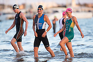 Clayton Fettell (AUS) and Emma Moffat (AUS), February 9, 2014 - Triathlon : Geelong Ironman 70.3, Eastern Beach Precinct, Geelong, Victoria, Australia. Credit: Lucas Wroe