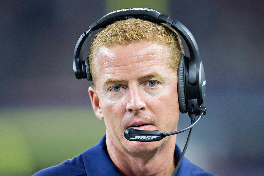 ARLINGTON, TX - SEPTEMBER 3:  Head Coach Jason Garrett of the Dallas Cowboys on the sidelines during a preseason game against the Houston Texans at AT&T Stadium on September 3, 2015 in Arlington, Texas.  The Cowboys defeated the Texans 21-14.  (Photo by Wesley Hitt/Getty Images) *** Local Caption *** Jason Garrett