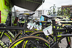 Ale-Cipollini Cycling Team bikes are lined up before Stage 1 of the Emakumeen Bira - a 50 km road race, starting and finishing in Iurreta on May 16, 2017, in Basque Country, Spain.