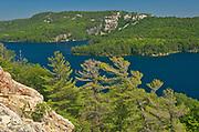 View of Killarney Lake, white pine trees (Pinus strobus) and the La Cloche Hills from the summit of a Precambiran shield<br />Killarney Provincial Park<br />Ontario<br />Canada