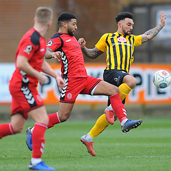TELFORD COPYRIGHT MIKE SHERIDAN 2/3/2019 - Ellis Deeney of AFC Telford battles for the ball with Jay Rollins during the National League North fixture between Boston United and AFC Telford United at the York Street Jakemans Stadium