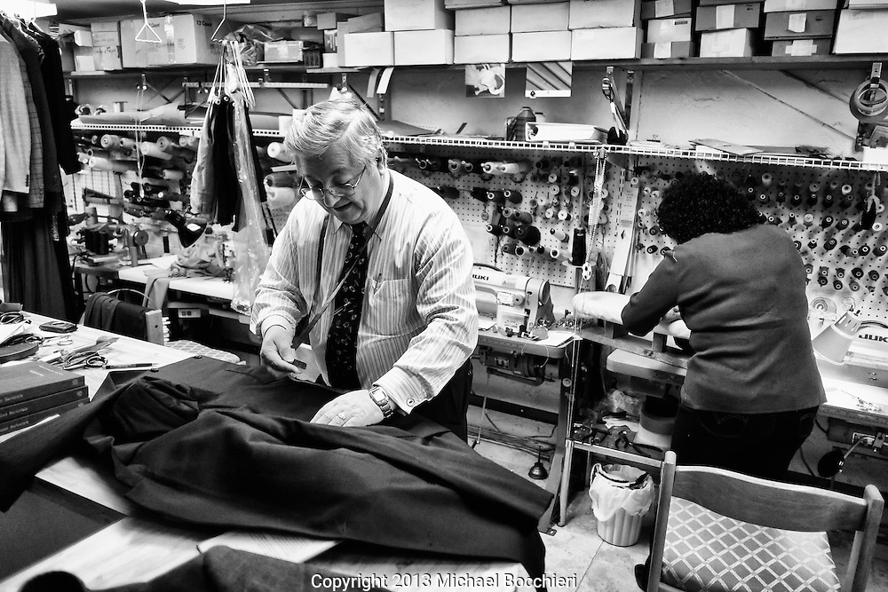 DUMONT, NJ - October 25:  Francesco Catalano Frank's Custom Tailor & Cleaning makes a suit October 25, 2013 in DUMONT, NJ. One of the last of dying breed, Catalano now runs his business out of the basement in his home in Dumont.  (Photo by Michael Bocchieri/Bocchieri Archive)