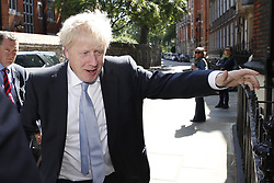 © Licensed to London News Pictures. 27/06/2019. London, UK. Conservative leadership candidate Boris Johnson is seen near Parliament. Both leadership candidates are campaigning in various locations in the south of England today. Photo credit: Peter Macdiarmid/LNP