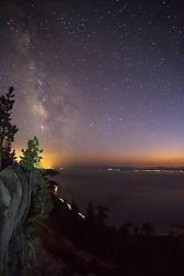 """""""Milky Way Over Lake Tahoe 1"""" - Photograph of the Milky Way and other stars over Lake Tahoe at night."""