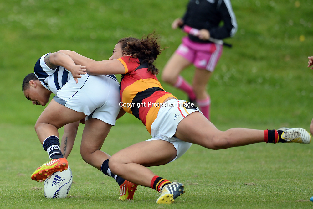 Makineti Hufanga of Auckland Storm scores a try during the Women's Rugby NPC Semi Final, Auckland Storm v Waikato. Auckland, New Zealand on Saturday 10 October 2015. Copyright Photo: Raghavan Venugopal / www.photosport.nz
