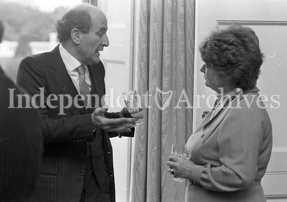 Ambassaors and Diplomats at the reception hosted by the President to mark United Nations Day at Aras an Uachtarain, 24/10/1984 (Part of the Independent Newspapers Ireland/NLI Collection).