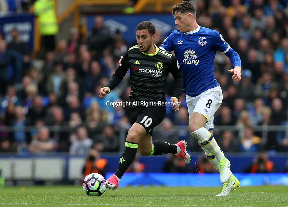 April 30th 2017, Goodison Park, Liverpool, England; EPL Premier league football, Everton versus Chelsea; Eden Hazard of Chelsea runs at the Everton defence chase by Ross Barkley of Everton
