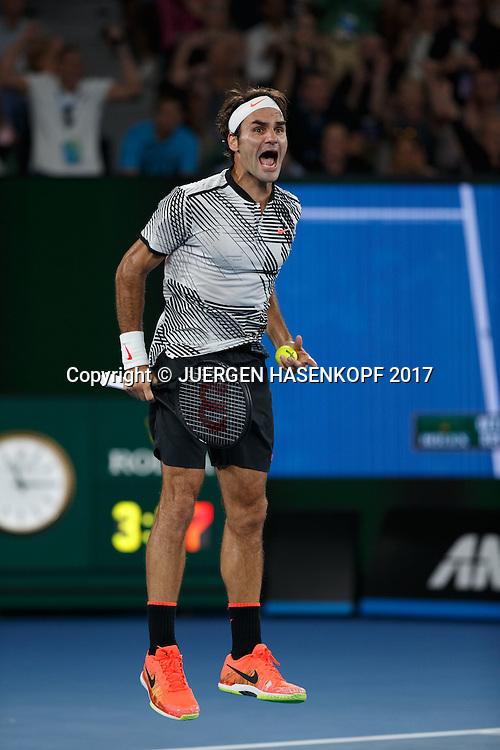 ROGER FEDERER (SUI) ,Herren Finale<br /> <br /> Australian Open 2017 -  Melbourne  Park - Melbourne - Victoria - Australia  - 29/01/2017.