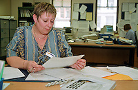 Debbie Monaghan, Admin Officer and CPSA member at work Employment Service Leeds.