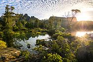 Sunrise over Lake Elysia, Mount Geryon and the Acropolis in Cradle Mountain–Lake St Clair National Park, Tasmania