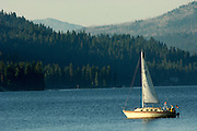 USA. Idaho, McCall. Sailboat sailing on Payette Lake with mountains beyond.