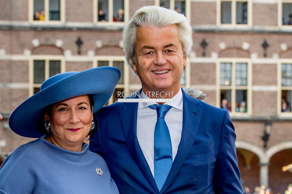 DEN HAAG - Geert Wilders en zijn echtgenote arriveren bij de Ridderzaal op Prinsjesdag.  ROBIN UTRECHT