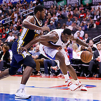 23 October 2013: Los Angeles Clippers center DeAndre Jordan (6) drives past Utah Jazz power forward Derrick Favors (15) during the Los Angeles Clippers 103-99 victory over the Utah Jazz at the Staples Center, Los Angeles, California, USA.