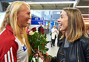 Warsaw, Poland - 2017 October 03: (L) Agnieszka Kobus and (R) Magdalena Fularczyk - Kozlowska Polish rowers smiles each other while welcome of Polish Rowing National Team at Chopin Airport on October 03, 2017 in Warsaw, Poland.<br /> <br /> Mandatory credit:<br /> Photo by &copy; Adam Nurkiewicz / Mediasport<br /> <br /> Adam Nurkiewicz declares that he has no rights to the image of people at the photographs of his authorship.<br /> <br /> Picture also available in RAW (NEF) or TIFF format on special request.<br /> <br /> Any editorial, commercial or promotional use requires written permission from the author of image.
