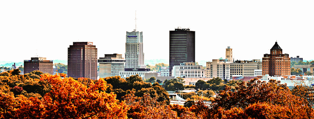 View of the downtown Akron skyline during the fall season.