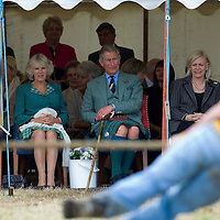 HRH The Prince Charles Duke of Rothesay and HRH Duchess of Rothesay watch, the  Tug of War competition at Mey Games,  Mey (Caithness) Scotland Aug 4 2007