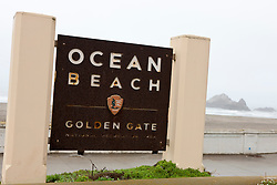 National Park Service sign for Ocean Beach, Golden Gate National Recreation Area, San Francisco, California, United States of America