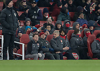 Football - 2017 / 2018 Premier League - Arsenal vs. Manchester City<br /> <br /> Arsenal Manager Arsene Wenger speaks to his assistant Steve Bould about the opening goal at The Emirates.<br /> <br /> COLORSPORT/DANIEL BEARHAM