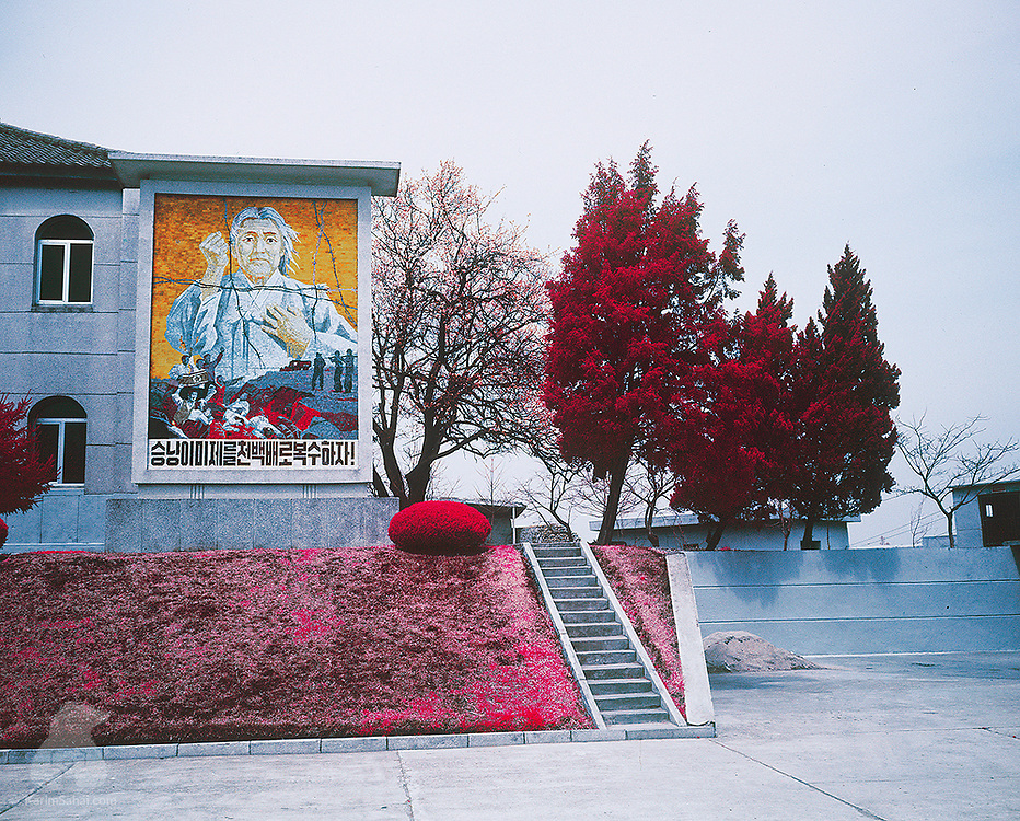 A large mosaic adorns a building near the entrance of the Museum of American War Atrocities in Sinchon (South Hwanghae province). The museum presents grim stories and artefacts from the Korean War period in Sinchon, where more than 35,000 people died between October and December 1950.