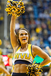 Nov 13, 2015; Morgantown, WV, USA; A West Virginia Mountaineers cheerleader performs during the first half against the Northern Kentucky Norse at WVU Coliseum. Mandatory Credit: Ben Queen-USA TODAY Sports