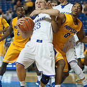 Delaware Guard Kyle Anderson (13) and  Hofstra Forward Jordan Allen (0) fight for the loose ball in the second half of a NCAA regular season Colonial Athletic Association conference game between Delaware and Hofstra Wednesday, JAN 8, 2014 at The Bob Carpenter Sports Convocation Center in Newark Delaware.