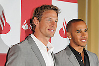 LONDON - JUNE 28: Jenson Button; Lewis Hamilton attended The London Grand Prix, a special event to premiere a short film that imagines how a race around London's streets might look. The Royal Automobile Club, Pall Mall, London, UK. June 28, 2012. (Photo by Richard Goldschmidt)