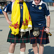 May 26 2012: Scotland fans pose for a photo while tailgating before the U.S. Men's National Soccer Team game against Scotland at Everbank Field in Jacksonville, FL.