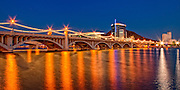 Night shot of Mill Ave Bridge over Temeo Town Lake