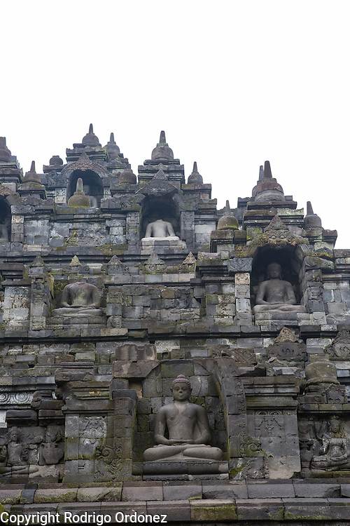General view of the lower levels of Borobudur temple in Central Java, Indonesia.