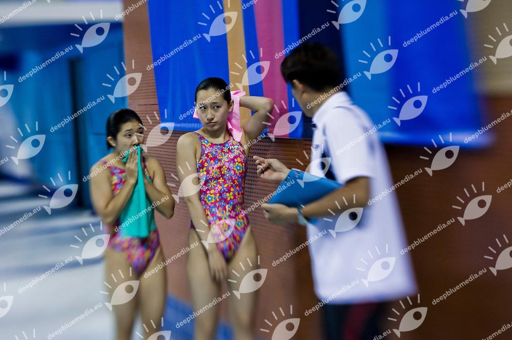 Tatsumi Fuka and Mabuchi Yuka JPN silver medal.Women's  synchronised 3m springboard.25/11/2012.9th Asian Swimming Championships.Dubai - U.A.E.  Nov.15th - 25th 2012.Day 11.Photo Giorgio Perottino/Deepbluemedia/Insidephoto