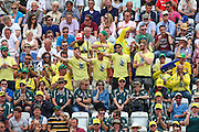 Aussie fans signal a four during 2nd day of the Investec Ashes Test match between England and Australia at Trent Bridge, Nottingham, United Kingdom on 7 August 2015. Photo by Shane Healey.