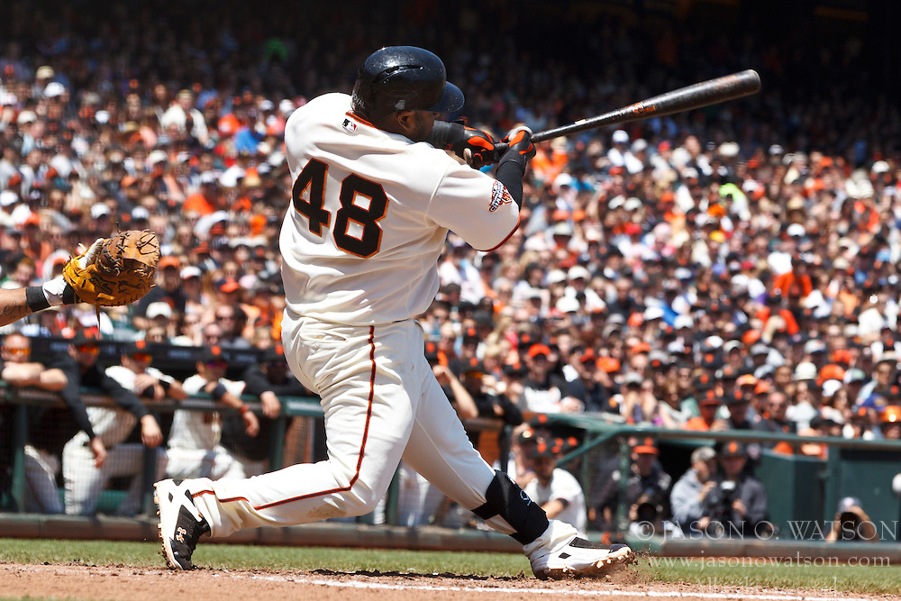 SAN FRANCISCO, CA - MAY 11: Pablo Sandoval #48 of the San Francisco Giants at bat against the Atlanta Braves during the third inning at AT&T Park on May 11, 2013 in San Francisco, California. The San Francisco Giants defeated the Atlanta Braves 10-1. (Photo by Jason O. Watson/Getty Images) *** Local Caption *** Pablo Sandoval