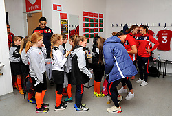 Mascots visit the changing room prior to kick-off - Mandatory by-line: Nizaam Jones/JMP - 28/04/2019 - FOOTBALL - Stoke Gifford Stadium - Bristol, England - Bristol City Women v West Ham United Women - FA Women's Super League 1