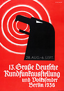 German Poster announcing a radio broadcasting exhibition Berlin, August-September 1936. Nazi era.