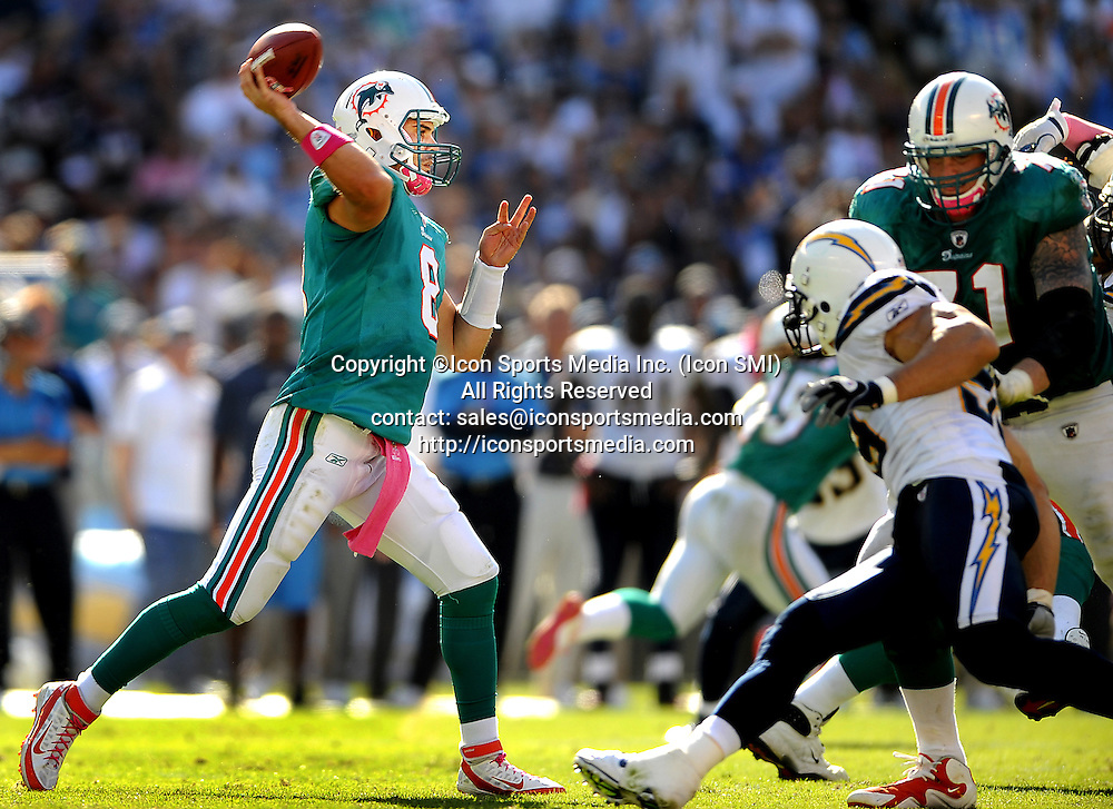 Oct. 2, 2011 - San Diego, CA, USA - Miami Dolphins quarterback looks to throw a pass in the second quarter against the San Diego Chargers at Qualcomm Stadium in San Diego, California on Sunday, October 2, 2011. The Chargers defeated the Dolphins, 26-16