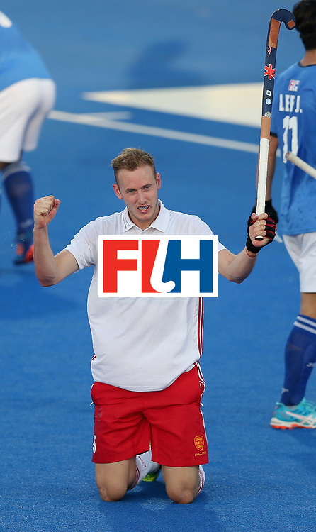 LONDON, ENGLAND - JUNE 20: David Ames of England celebrates scoring his sides second goal during the Pool A match between England and South Korea on day six of the Hero Hockey World League Semi-Final at Lee Valley Hockey and Tennis Centre on June 20, 2017 in London, England.  (Photo by Alex Morton/Getty Images)