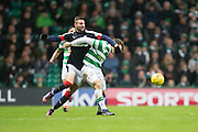 Dundee's Marcus Haber gets to grips with Celtic's Erik Sviatchenko - Celtic v Dundee in the Ladbrokes Scottish Premiership at Celtic Park, Glasgow. Photo: David Young<br /> <br />  - © David Young - www.davidyoungphoto.co.uk - email: davidyoungphoto@gmail.com