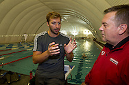 "Swimmer Ian THORPE (L) of Australia talks to his coach Guennadi Touretski, National Head Coach of Swiss Swimming, at the temporary covered 50m outdoor pool at the Centro sportivo nazionale della gioventu (""youth and sports""-Centre) in Tenero, Switzerland, Wednesday, March 16, 2011. Five-time Olympic gold medallist Ian Thorpe has finalised his coaching set-up ahead of next year's London Olympic Games, announcing today that he will link up with former Australian Institute of Sport Coach and Russian born Gennadi Touretski in Switzerland. (Photo by Patrick B. Kraemer / MAGICPBK)"